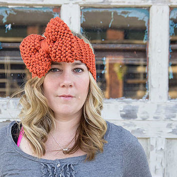 Women's ear warmer, crochet headband, bow headband