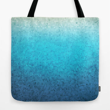 Sea Glass Tote Bage, blue, teal, mosaic design beautiful, mom, gift, allover print accessories