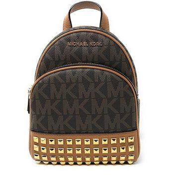 ONETOW Michael Michael Kors Abbey Extra-Small Signature Studded Backpack Brown/Acorn