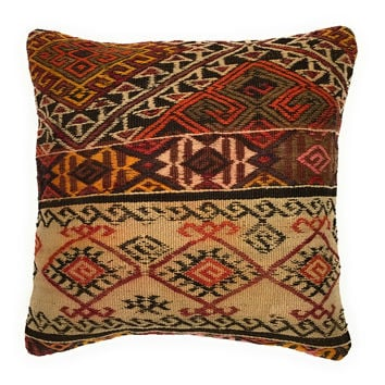Eclectic Handwoven Wool Turkish Kilim Pillow Cushion Cover