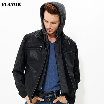 Men's real leather jacket motorcycle Genuine Leather jacket men hooded leather coat hat