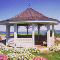 Painted White Gazebo In Chatham, Cape Cod Wrapped Canvas