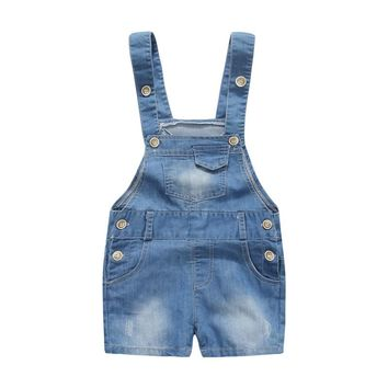 6-24 M Kids Baby Boy Overalls Denim Jeans Casual Summer Toddler Clothes Baby Suspender Shorts Baby Boy Jumpsuit Jeans DQ334