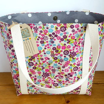 Floral Bag, Canvas Tote, Reusable Shopping Bag, Flowery Purse, Knitting Project Bag, Fabric Handbag, Canvas Shoulder Bag, Gift For Her