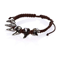 Brown metal shark tooth woven bracelet
