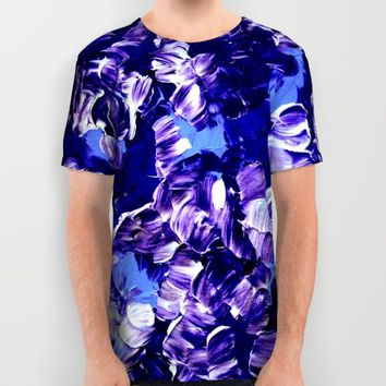 FLORAL FANTASY 2 Bold  Blue Lavender Purple Abstract Flowers Acrylic Textural Painting Garden Art All Over Print Shirt by EbiEmporium