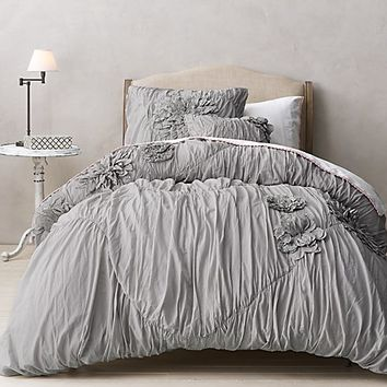 Washed Appliquéd Fleur & Vintage Crochet Bedding Collection