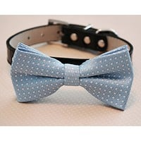 Blue Dog bow tie attached collar, Pet Wedding, Something blue, Wedding idea