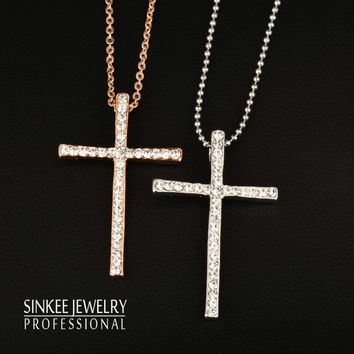 Silver Plated Rhinestone Cross Pendant Necklace Chain For Women And Girl Womans
