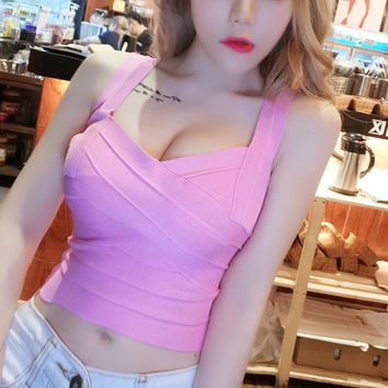 Women Spring Summer Sexy V Neck Club Party Club Tank Backless Lace Bandage Tank Crop Tops