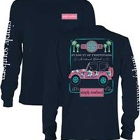Gliks - Simply Southern Preppy Collection Jeep Long Sleeve Tee in Navy