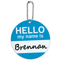 Brennan Hello My Name Is Round ID Card Luggage Tag