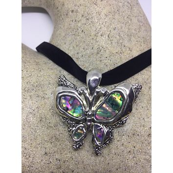 Blue Handmade Gothic Styled Silver Finished Genuine Abalone Butterfly Choker Necklace