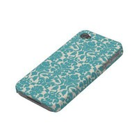 French Ornament Vintage Floral Damask Blue, White Iphone 4 Covers from Zazzle.com