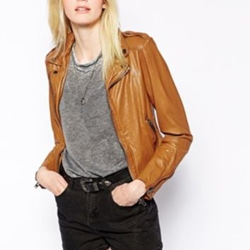 Muubaa Sabi Leather Biker Jacket - Sepia