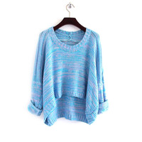 Retro Loose Fitting High-low Hemline Knit Sweater