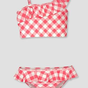 2019 Summer Girl's Two Piece Swimwear w/ One Shoulder Ruffle & Pink Plaid Print
