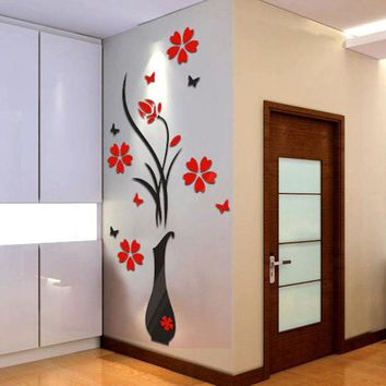 VONC1Y DIY Vase Flower Tree Crystal Arcylic 3D Wall Stickers Decal Home Decor Decoration room Decals Wall Art Sticker wallpaper