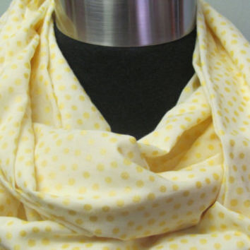 Pale Yellow with Bright Yellow Dots Infinity Scarf