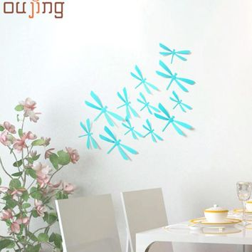 New Qualified 12pcs 3D DIY Decor Dragonfly Home Party Wall Stickers PVC Art Decal Levert Dropship dig633