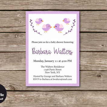 Birds Baby Shower Invitation, Personalized Printable Party Invite, Pink Baby Girl, Shabby Chic Celebration Announcement, Birdie Style