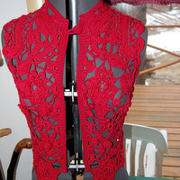 Crochet Irish Lace Vest in Scarlet FREE US Shipping by lacasa110