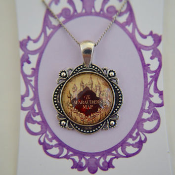 Harry Potter (inspired), marauders map cameo necklace