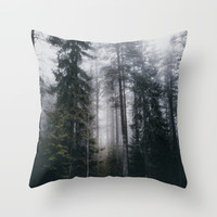 Into the forest we go Throw Pillow by happymelvin