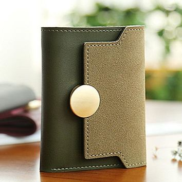 Women Retro PU Leather Trifold Wallet 5 Card Slot