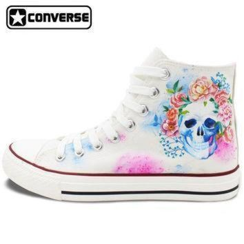 DCCK1IN hand painted converse shoes for women men custom design skull colorful flowers white s