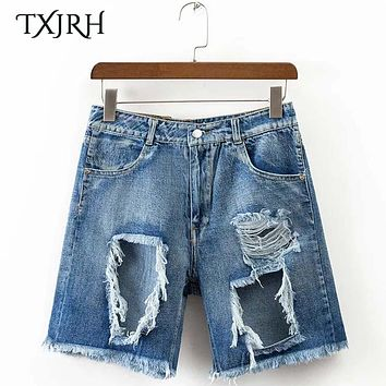 TXJRH Fashion Bleached Ripped Hole Denim Shorts Tassles Fringe Hem High Waist Pockets Slim Jeans Shorts Women Femme K17-02-42