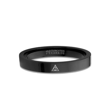 Harry Potter Deathly Hallows Logo Engraved Black Tungsten Ring