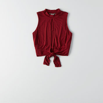 Don't Ask Why Mock Neck Cropped Tank, Twilight Red