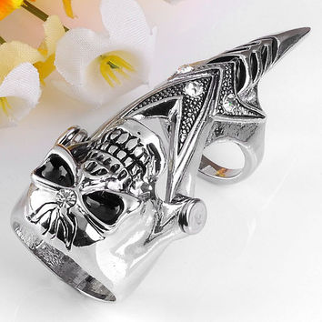 Hot Sale Crystal knight Skull Long Full Finger Knuckle Armour Double Ring Gothic Punk Gothic Silvery Ghost Rings Mem Women