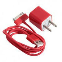 Mini 2 in 1 Charger Kit (US Standard USB Power Apdater + USB Cable) for iPhone 4/4S/3GS/3G ( Red) China Wholesale - Everbuying.com