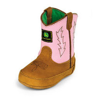 Crib John Deere Wellington Boot - Pink/Tan