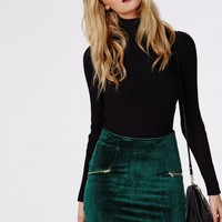 Missguided - Velvet Zip Detail Mini Skirt Dark Green
