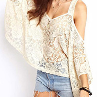 White Lace Floral Shoulder Cutout Cape Blouse