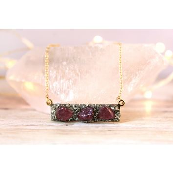 Raw Ruby July Birthstone Gemstone Necklace