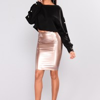 Ziggy Skin Tight Latex Skirt - Rose Gold