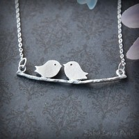 Love Birds Kissing on Tree Branch - White Gold Couples Necklace