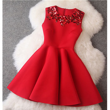 2016 Autumn Winter Chrismas Red A-line Sundress Sequin Dresses Sleeveless Mini Vintage Party Short Dress Vestido