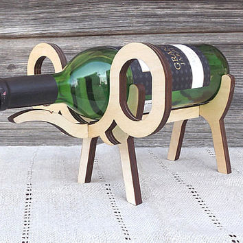 Wood Wine Bottle Holder Elephant Bottle Holder Home Decor Wooden Wine Rack Kitchen Decor Bridal Bridesmaid Gifts Weddings Rustic Gift