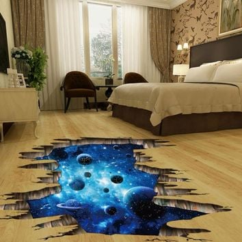 Starry Dark Blue Night ~ Galactic Planets ~ Removable Wall Stickers ~ Home Decor Decals ~ Floor Mural