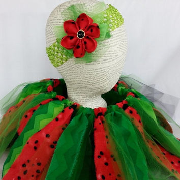 Watermelon Tutu and Headband Set ~  Shabby Chic Fabric Tutu ~ Pixie Tutu ~ Summer Tutu ~ 2 yr old Tutu ~ 3 yr old Tutu ~  Photo Prop Girl