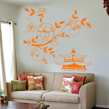 Vinyl Wall Decal Pagoda Sakura Tree Branch China Asian Style Stickers Unique Gift (1214ig)