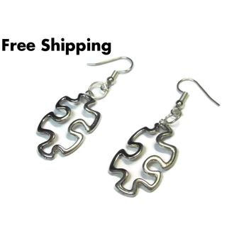 Autism Awareness Cutout Puzzle Piece Silver Hand Crafted Dangle Earrings