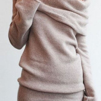 Slash Collar Long Sleeve Pullover Knitwear