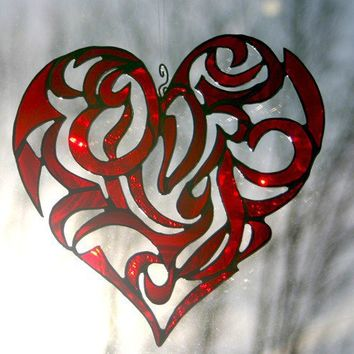 Stained Glass Red Heart Decorative Window Ornament by GaleazGlass