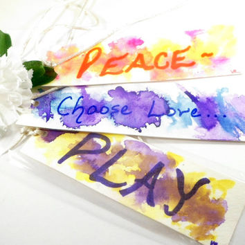 Inspirational Words Book Marks, Peace Book Markers, Choose Love Hand Painted Paper Bookmarks, Play Book Lover Gifts, Teacher Gifts